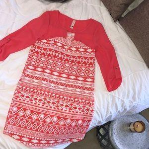 PINK OWL Fuchsia Keyhole Tunic Dress